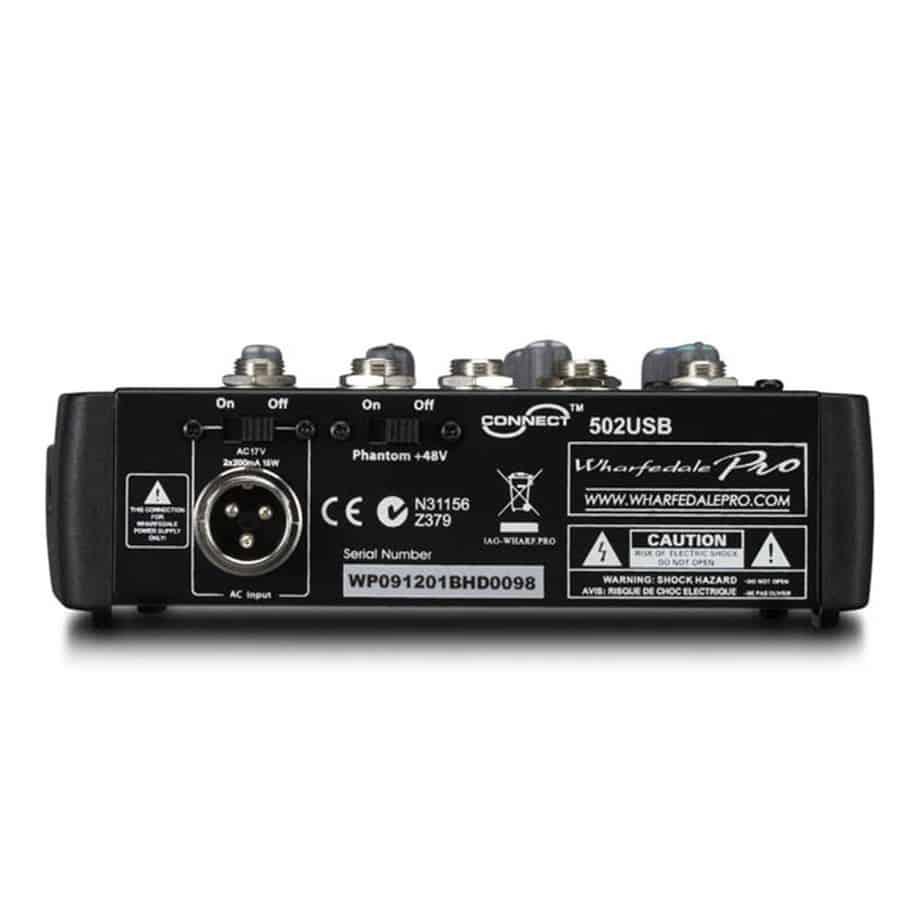 Wharfedale Pro Connect 502USB lydmikser sett bakfra