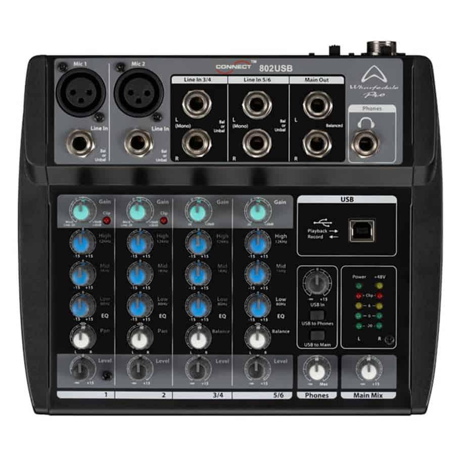 Wharfedale Pro Connect 802USB lydmikser sett ovenfra