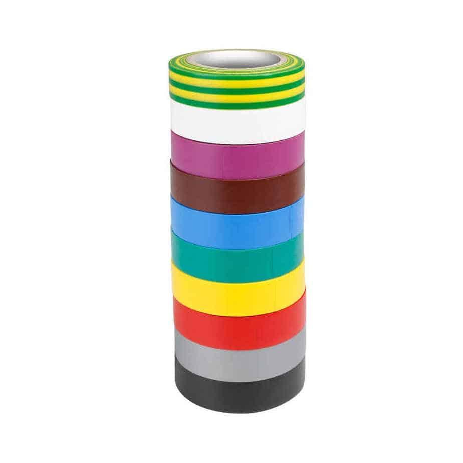 Adam Hall 580813RNB10 elektrikkerteip sett flere farger
