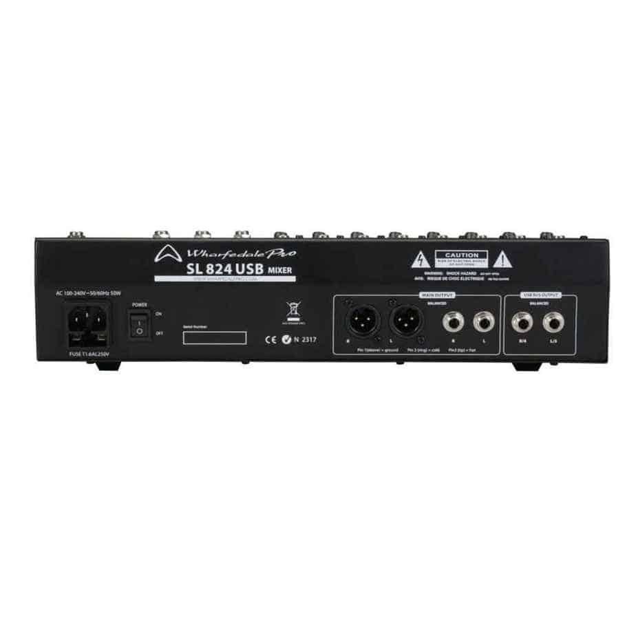 Wharfedale Pro SL 824USB lydmikser sett bakfra