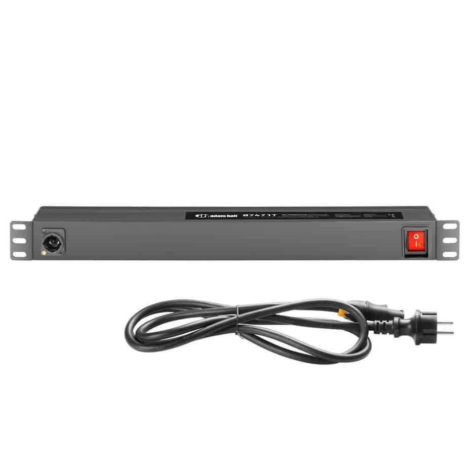 Adam Hall 87471T strømskinne med powercon sett fra forfra